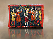 Romanesque painted Beam depicting The Passion and the Stations of the Cross<br /> <br /> Around 1192-1220, Tempera on wood from Catalonia, Spain.<br /> <br /> Acquisition of Museums Board's campaign in 1907. MNAC 15833.<br /> <br /> It is not known what was the original location of the beam, but it might have been part of the structure of a canopy. In any case, it was reused in a ceiling, as evidenced by the cuts that are at the top. It is decorated with seven scenes from the Passion and Resurrection of Christ, this one shows Christ carrying the Cross on the road to Calvary. The narrative character in the images and the predominance of yellow is typical of Catalan painting of the 1200's,  specifically with illustrations of Liber Feudorum Maior, a late twelfth-century illuminated cartulary book style of the Crown of Aragon ..<br /> <br /> If you prefer you can also buy from our ALAMY PHOTO LIBRARY  Collection visit : https://www.alamy.com/portfolio/paul-williams-funkystock/romanesque-art-antiquities.html<br /> Type -     MNAC     - into the LOWER SEARCH WITHIN GALLERY box. Refine search by adding background colour, place, subject etc<br /> <br /> Visit our ROMANESQUE ART PHOTO COLLECTION for more   photos  to download or buy as prints https://funkystock.photoshelter.com/gallery-collection/Medieval-Romanesque-Art-Antiquities-Historic-Sites-Pictures-Images-of/C0000uYGQT94tY_Y