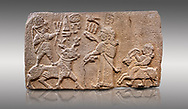 """Aslantepe Hittite relief sculpted orthostat stone panel. Limestone, Aslantepe, Malatya, 1200-700 B.C. Anatolian Civilisations Museum, Ankara, Turkey.<br /> <br /> Scene of king's offering drink and sacrifice to the god. The god is on the deer, with the bow attached to his shoulder and with a triple bundle of lightning in his hand. The king looks at the god, and makes the libation to the god while carrying a scepter with a curled end - lituus. Behind the king is a servant holding a goat for sacrifice to the god. Hieroglyphs read; """"God Parata, Strong King... """". <br /> <br /> Against a gray background. .<br /> <br /> If you prefer to buy from our ALAMY STOCK LIBRARY page at https://www.alamy.com/portfolio/paul-williams-funkystock/hittite-art-antiquities.html . Type - Aslantepe - in LOWER SEARCH WITHIN GALLERY box. Refine search by adding background colour, place, museum etc.<br /> <br /> Visit our HITTITE PHOTO COLLECTIONS for more photos to download or buy as wall art prints https://funkystock.photoshelter.com/gallery-collection/The-Hittites-Art-Artefacts-Antiquities-Historic-Sites-Pictures-Images-of/C0000NUBSMhSc3Oo"""