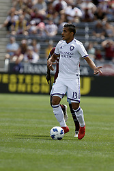 April 29, 2018 - Commerce City, Colorado - Orlando City SC defender Mohamed El-Monir (13) controls the ball in the first half of action in the MLS soccer game between Orlando City SC and the Colorado Rapids at Dick's Sporting Goods Park in Commerce City, Colorado (Credit Image: © Carl Auer via ZUMA Wire)