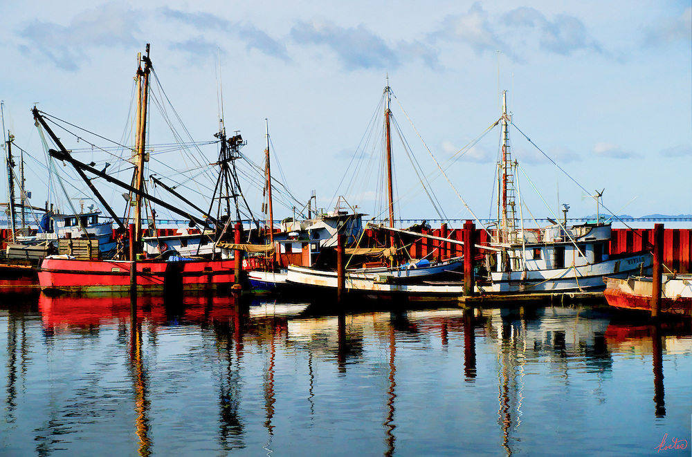 The reflections in the water are really the main subject in this image of a fishing fleet.