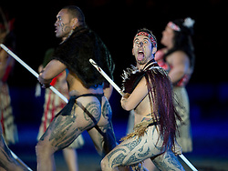 © London News Pictures. 10/05/2012. Windsor, UK. Maori from New Zealand performing the Haka The opening night of the Diamond Jubilee Pageant in the private grounds of Windsor Castle, on May 10, 2012. 1200 performers and 600 horses from countries all around the world take part in the Pageant which runs for four nights celebrating 60 years on the throne for Queen Elizabeth II.  Photo credit: Ben Cawthra/LNP
