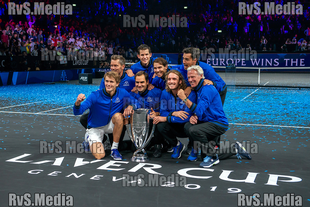 GENEVA, SWITZERLAND - SEPTEMBER 22: Roger Federer with the team Europe celebrates with the trophy during Day 3 of the Laver Cup 2019 at Palexpo on September 20, 2019 in Geneva, Switzerland. The Laver Cup will see six players from the rest of the World competing against their counterparts from Europe. Team World is captained by John McEnroe and Team Europe is captained by Bjorn Borg. The tournament runs from September 20-22. (Photo by Robert Hradil/RvS.Media)