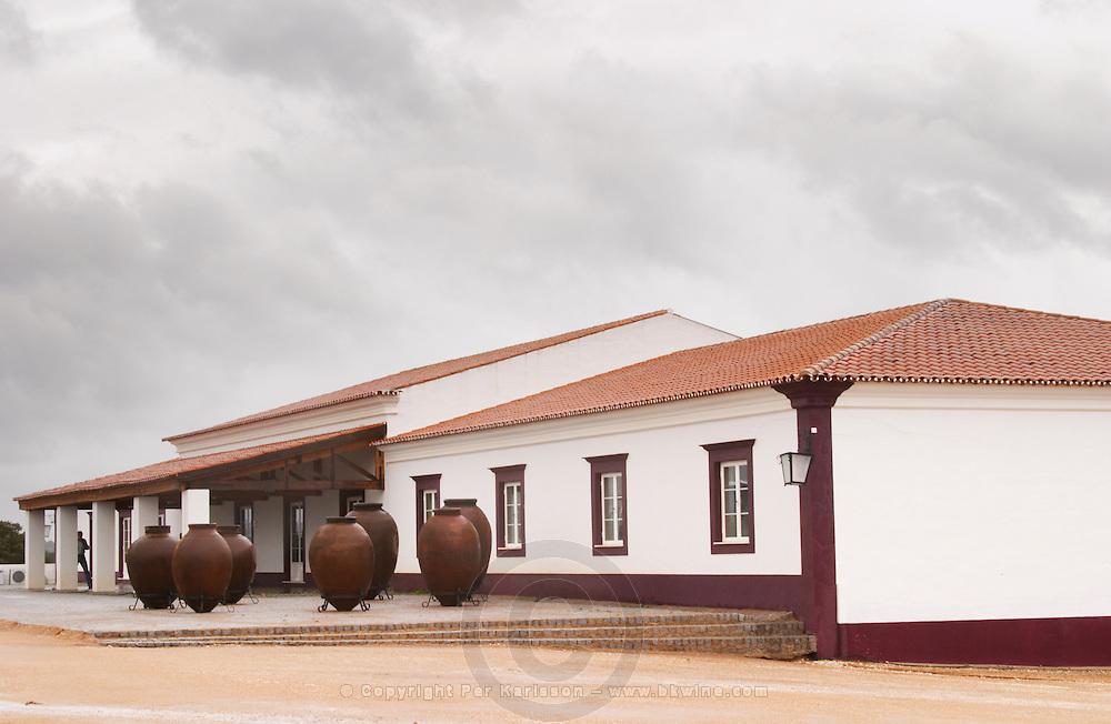 Winery building. With huge amphoras. Herdade das Servas, Estremoz, Alentejo, Portugal