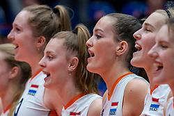 Jette Kuipers of Netherlands, Marije ten Brinke of Netherlands, Jolien Knollema of Netherlands during United States - Netherlands, FIVB U20 Women's World Championship on July 15, 2021 in Rotterdam