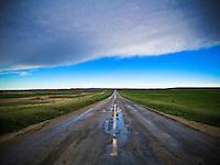 Highway 6 near Big Muddy in southern Saskatchewan, after a rainfall