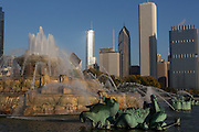 Skyline of downtown from Buckingham Fountain at Grant Park in Chicago USA