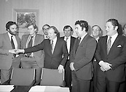 An Taoiseach Meets SDLP Delegation.  (N60)..1981..06.02.1981..02.06.1981..6th February 1981..At Government Buildings ,Leinster House Dublin, An Taoiseach, Mr Charles Haughey, met with a delegation from the SDLP. The delegation was led by Mr John Hume MEP..Image shows an Taoiseach Mr Haughey inviting the SDLP delegation to take their seats for the meeting.