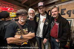 Hank from Mooneyes Sweden with friends at the Monday night afterparty at Mooneyes Area One after the Mooneyes Yokohama Hot Rod & Custom Show. Yokohama, Japan. December 5, 2016.  Photography ©2016 Michael Lichter.