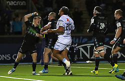 Glasgow Warriors George Horne celebrates scoring a try against Cardiff during the Heineken Champions Cup match at Scotstoun Stadium, Glasgow.