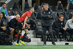 November 11, 2018 - Atlanta, GA, U.S. - ATLANTA, GA Ð NOVEMBER 11:  NYCFC head coach Domnec Torrent has a few words on the sideline with Atlanta's Miguel Almiron (10) during the MLS Eastern Conference semifinal match between Atlanta United and NYCFC on November 11th, 2018 at Mercedes-Benz Stadium in Atlanta, GA.  Atlanta United FC defeated New York City FC by a score of 3 to 1 to advance in the playoffs.  (Photo by Rich von Biberstein/Icon Sportswire) (Credit Image: © Rich Von Biberstein/Icon SMI via ZUMA Press)