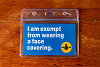 A slightly off beat look at the fact that Face Covering excemtion cards can be bought online without any proof a of reason to not wear one. Government guidlines do say that you can buy or make one of these without any kind of medical proof ,which will leave the sysytem and genuine sufferers open to abuse   Photo by Mark Anton Smith