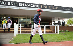 Jockey Jeremiah McGrath in the paddock before the Spreadex Sports Betting Mares' Standard Open National Hunt Flat Race 5.30pm during the April Meeting at Cheltenham Racecourse