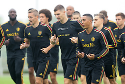 September 5, 2018 - Tubize, BELGIUM - Belgium's Timothy Castagne, Belgium's Thomas Meunier and Belgium's Youri Tielemans pictured during a training session of Belgian national soccer team the Red Devils in Tubize, Wednesday 05 September 2018. The team is preparing for a friendly match against Scotland on 07 September and the UEFA Nations League match against Iceland on 11 September. BELGA PHOTO BRUNO FAHY (Credit Image: © Bruno Fahy/Belga via ZUMA Press)