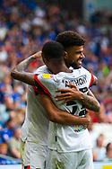 CELE 0-1 Bournemouth midfielder Junior Stanislas (19) celebrates scoring the opening goal with team-mate Jaidon Anthony  (32) during the EFL Sky Bet Championship match between Cardiff City and Bournemouth at the Cardiff City Stadium, Cardiff, Wales on 18 September 2021.