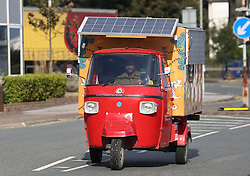 Naveen Rabelli drives his self-modified solar-powered tuk tuk in Dover at the end of a seven-month, 6,200 mile overland adventure from India.