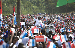 KIGALI, July 29, 2017  Rwandan presidential candidate Paul Kagame (C), the incumbent President of Rwanda, greets his supporters at a presidential campaign rally in Rusizi, Rwanda, on July 28, 2017. Rwanda will go the polls for the presidential elections on August 4 for its third time since the end of the ex-genocidal regime in 1994.  whw) (Credit Image: © Gabriel Dusabe/Xinhua via ZUMA Wire)
