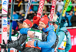 21.01.2018, Heini Klopfer Skiflugschanze, Oberstdorf, GER, FIS Skiflug Weltmeisterschaft, Teambewerb, Siegerehrung, im Bild Andreas Stjernen (NOR), Cheftrainer Alexander Stöckl (NOR) // Andreas Stjernen of Norway, Austrian Headcoach Alexander Stoeckl of Norway during Winner Award Ceremony of the Team competition of the FIS Ski Flying World Championships at the Heini-Klopfer Skiflying Hill in Oberstdorf, Germany on 2018/01/21. EXPA Pictures © 2118, PhotoCredit: EXPA/ JFK