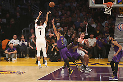 November 14, 2018 - Los Angeles, CA, U.S. - LOS ANGELES, CA - NOVEMBER 14: Portland Trail Blazers Forward Evan Turner (1) shooting over few Lakers defenders during the Portland Trail Blazers versus the Los Angles Lakers game on November 14, 2018, at Staples Center in Los Angeles, CA. (Photo by Icon Sportswire) (Credit Image: © Jevone Moore/Icon SMI via ZUMA Press)