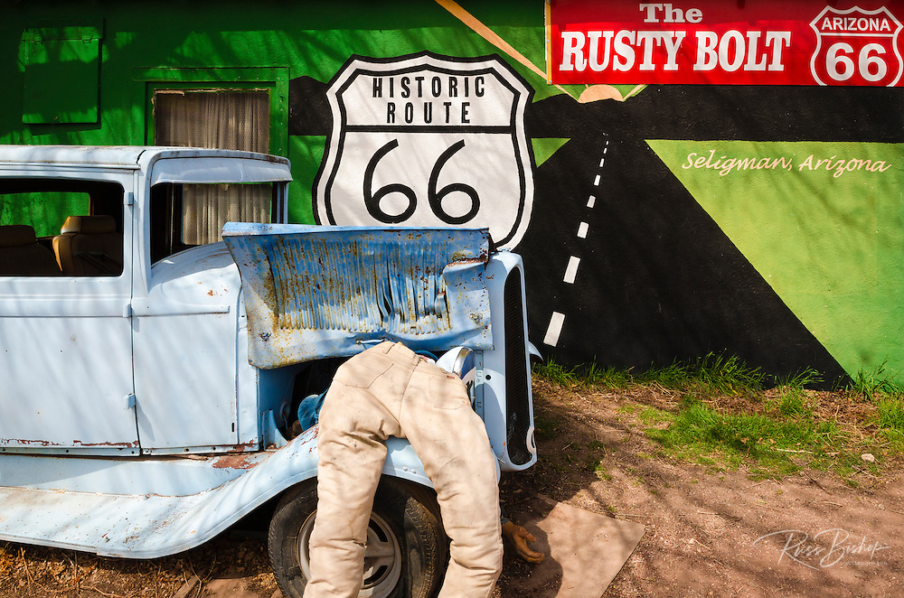 Travel art on historic Route 66, Seligman, Arizona USA