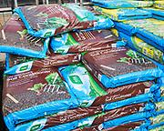 Bags of soil conditioner on sale Ladybird Nurseries garden centre, Gromford, Suffolk, England, UK