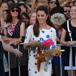 The Duke and Duchess of Cambridge go on a walk about in Brisbane, Australia, on day 13 of their Royal Tour of New Zealand and Australia. Saturday, 19th April 2014. Picture by Andrew Parsons / i-Images