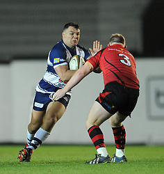 Bristol Rugby's Ellis Genge runs into Jersey Rugby's Danny Herriott - Photo mandatory by-line: Dougie Allward/JMP - Mobile: 07966 386802 - 17/04/2015 - SPORT - Rugby - Bristol - Ashton Gate - Bristol Rugby v Jersey - Greene King IPA Championship