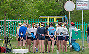 Plovdiv, Bulgaria, 9th May 2019, FISA, Rowing World Cup 1, Centre Tom TERHAAR USRowing's Women's Head coach talks to his Squad, gathered around him  [© Peter SPURRIER]