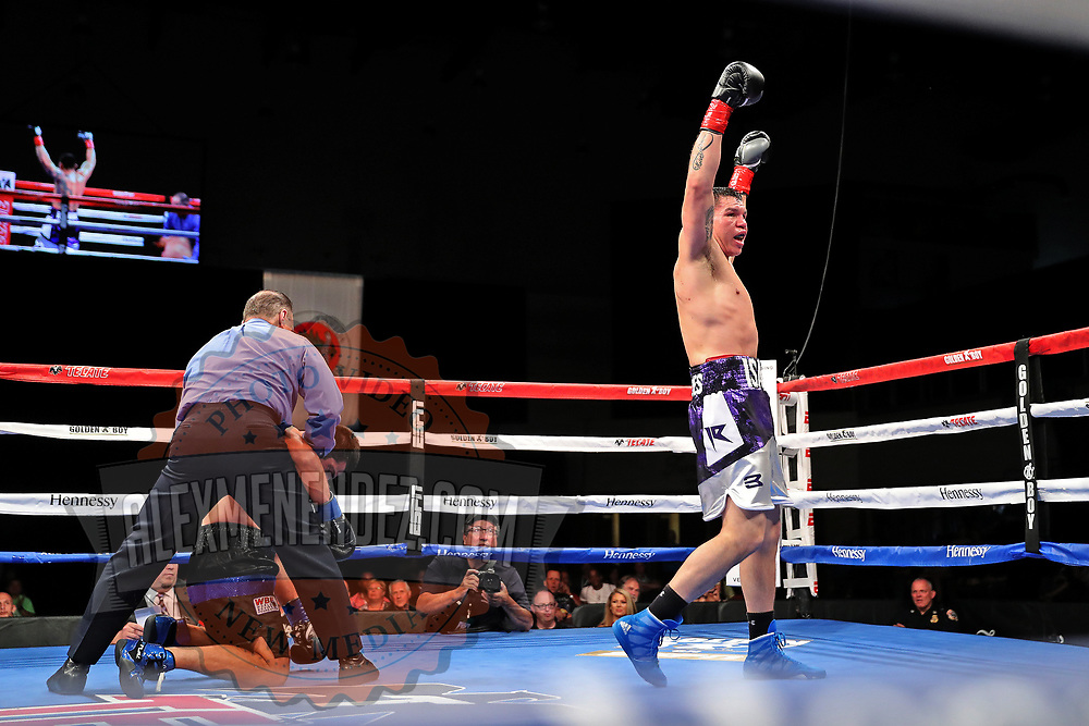 VERONA, NY - JUNE 08: Isaac Rodrigues celebrates after knocking out Frankie Filippone during the Golden Boy on ESPN fight night at Turning Stone Resort Casino on June 8, 2018 in Verona, New York. (Photo by Alex Menendez/Getty Images) *** Local Caption *** Isaac Rodrigues; Frankie Filippone