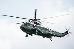 London, UK. 3 June, 2019. One of a pair of Marine One US Marine Corps Sikorsky VH-60N White Hawk helicopters, one of which carrying President Trump, arrives at Winfield House, official residence of the US ambassador to the UK, from Stansted Airport at the beginning of the US President's state visit to the UK.