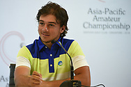 David MICHELUZZI (AUS) is interviewed after his eagle approach shot on 18 vaulted him into the lead by 1 during Rd 1 of the Asia-Pacific Amateur Championship, Sentosa Golf Club, Singapore. 10/4/2018.<br /> Picture: Golffile | Ken Murray<br /> <br /> <br /> All photo usage must carry mandatory copyright credit (© Golffile | Ken Murray)