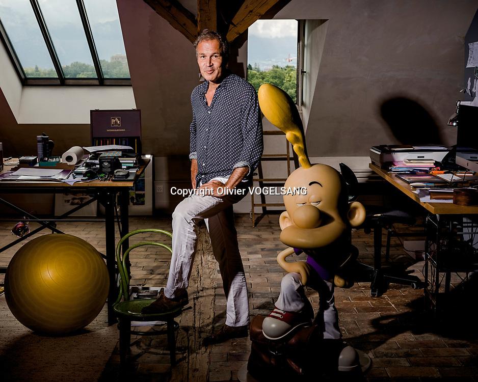 Genève, 17 août 2020. Philippe Chappuis alias Zep, dessinateur de bd et du célèbre personnage Zep. © Olivier Vogelsang