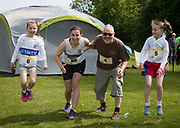 NO FEE PICTURES<br /> 19/5/18 Hundreds of people of all ages lapped up the summer sunshine when they came out to support an important cause which is close to many of their hearts, organ donation, by taking part in the Irish Kidney Association's 'Run for a Life' family fun run which took place at Corkagh Park, Clondalkin, Dublin 22 on Saturday 19th May.   (www.runforalife.ie) Pictured Ciara and Murice Devitt Maurice, and daughters Ava 7 and Muireann 9, Picture:Arthur Carron