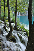 Natural waterfalls and cascades photographed at Plitvice Lakes National Park, Croatia