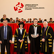 """05/11/2015       <br /> The President of Limerick Institute of Technology (LIT), Dr. Maria Hinfelaar, has warned that without investment in facilities and infrastructure, LIT will struggle to meet the growing demand for skilled graduates as the pace of job creation reaches new levels in Limerick.<br /> Speaking today at the opening ceremony for this year's conferring of 1700 students at LIT, Dr. Hinfelaar, president of one of Ireland's fastest-growing third level institutes, said that LIT is now """"incredibly tight for space and this year the problem is even more acute"""".<br /> Dr. Hinfelaar was speaking against the backdrop of over 6,000 new jobs having been announced for Limerick in the past two years.  She said that LIT needed """"a step change in capital funding"""" because of heightened industry demand for skilled graduates brought about by the success of the strategy to bring jobs to Limerick.<br /> <br /> The Aidan Feeney Perpetual Award was awarded to Andrew Scannell for Excellence in the subject 'highways' on the B.Eng. in Civil Engineering. The award was presented by Dr. Maria Hinfelaar, President LIT and Niall Greene, Chairman LIT Governing Body. Picture: Alan Place/Fusionshooters."""