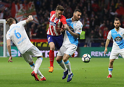 MADRID, April 2, 2018  Atletico Madrid's Saul Niguez (2nd L) vies for the ball during the Spanish league match between Atletico de Madrid and RC Deportivo de La Coruna in Madrid, Spain, on April 1, 2018. Atletico Madrid won 1-0.  wll) (Credit Image: © Edward Peters Lopez/Xinhua via ZUMA Wire)