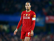 Liverpool's Virgil van Dijk during the English FA Cup fifth round soccer match between Chelsea and Liverpool at Stanford Bridge Stadium, Wednesday, March 3, 2020, in London, United Kingdom. (ESPA-Images/Image of Sport)