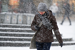 © under license to London News Pictures.  17/12/2010 A woman battles through a snow storm in Plymouth this morning (17/12/2010). Snow and cold weather is forcast for much of the South West over the next few days. Picture credit should read: David Hedges/LNP