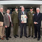 23/10/2015       <br /> Members of the Defence Forces were in Abbeyfeale today to present a handmade Tricolour and a copy of the Proclamation of the Irish Republic to students of the town's two primary schools.<br /> <br /> St Marys Boys National School and Scoil Mháthair Dé are among 3,000 schools nationally and 152 Limerick primary schools to receive the presentation as part of initiatives to mark the centenary of the 1916 Rising.<br /> <br /> Councillor Liam Galvin, Mayor of the City and County of Limerick joined pupils and teachers for today's presentation ceremony, which saw representatives of the Defences Forces raise the flag and read the Proclamation. <br /> <br /> Attending the ceremony at St. Marys Boys National School were, Danian Brady, Limerick City and County Co-Ordinator, Sean Woulfe, Principal, Private Ciara Quinn, Mayor of Limerick Cllr. Liam Galvin, Sergeant James Reddan and Con Daly, Chairman Of The Board St. Marys BNS. Picture: Alan Place.