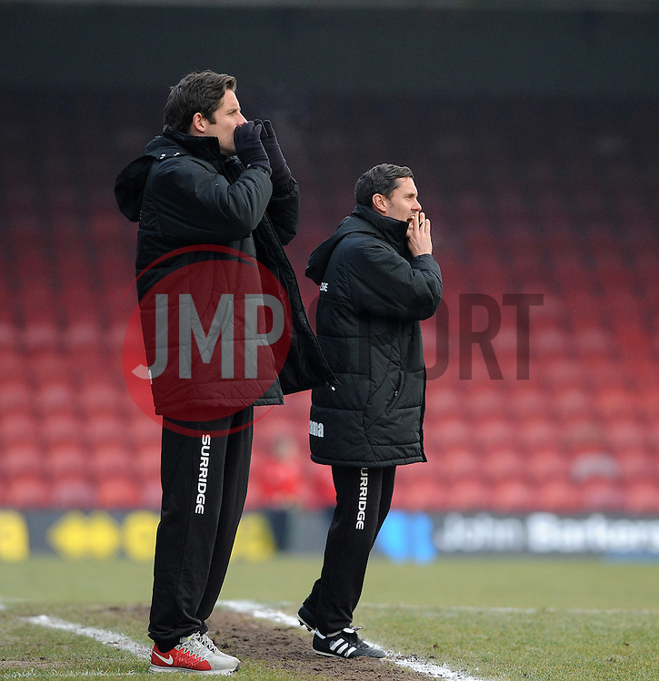 Grimsby Manager, Paul Hurst (L) and his assistant Grimsby's Chris Doig - Photo mandatory by-line: Neil Brookman/JMP - Mobile: 07966 386802 - 14/02/2015 - SPORT - Football - Cleethorpes - Blundell Park - Grimsby Town v Bristol Rovers - Vanarama Football Conference