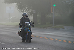 Pat Simmons of the Doobie Brothers riding his 1929 Harley-Davidson JD in the fog at the beginning of Stage 8 of the Motorcycle Cannonball Cross-Country Endurance Run, which on this day ran from Junction City, KS to Burlington, CO., USA. Saturday, September 13, 2014.  Photography ©2014 Michael Lichter.