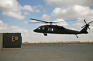 1-244 Air Helicopter Battalion ( part of the 34th Air Brigade) is made up of companies from the Louisiana and Florida National guards. They conduct air assault and air movement operation including acting as a taxi service around  Baghdad flying a ring around the bases before returning to their hub in Balad.  It cost $6000 an hour to operate a blackhawk, so it isn't the most cost effective way to get around but it is the safest.