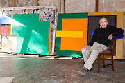 Syd Ball in his studio surrounded by his work, Glenorie, NSW, Australia.