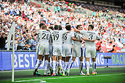 Tranmere Rovers players celebrate after a goal from Tranmere Rovers Connor Jennings(11) 1-1 during the Vanarama National League Play Off Final match between Tranmere Rovers and Forest Green Rovers at Wembley Stadium, London, England on 14 May 2017. Photo by Adam Rivers.