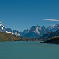 The Horns of Paine and Towers of Paine above the Paine River in Torres del Paine National Park, Chile