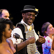 """Singer and percussionist """"Silky"""" performs with Vaud and the Villains at The Music Hall in Portsmouth, NH. July 2012."""