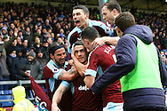 Robbie Brady of Burnley (c) celebrates with his teammates after scoring his teams 1st goal. Premier league match, Burnley v Chelsea at Turf Moor in Burnley, Lancs on Sunday 12th February 2017.<br /> pic by Chris Stading, Andrew Orchard Sports Photography.