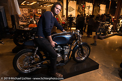 Mike LaFountain of Raccia Motorcycles with this CB550 on Saturday at the Handbuilt Motorcycle Show. Austin, TX. April 11, 2015.  Photography ©2015 Michael Lichter.