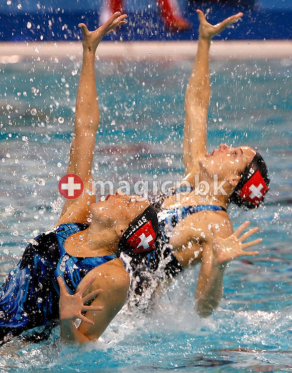 Magdalena Brunner (L) and Ariane Schneider (R) of Switzerland perform in a synchronized (synchronised) swimming duet training session during the 2008 European Aquatics Championships in Eindhoven, Netherlands, Wednesday, March 12, 2008. (Photo by Patrick B. Kraemer / MAGICPBK)