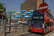 Stagecoach's 238 bus service to Stratford, entering its bus station with the Shoal Olympic artwork. is one vehicle in the Stagecoach UK Bus company, one of the largest bus operators in the UK, operating express and local bus services across the UK and providing jobs for 18,000 people at a number of regional companies. 'The Shoal' at the Stratford Centre is made up of around 100 titanium clad 'leaves' mounted between 15 and 19 metres high on metal posts. Worth £13.5m, the Shoal is part of The Stratford Town Centre Public Realm Project, designed and manufacturered using 3D technology in time for the 2012 Olympics..