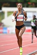 Nafi Thiam aka Nafissatou Thiam (BEL) runs 2:20.46 in the heptathlon 800 during the DecaStar meeting, Saturday, June 23, 2019, in Talence, France. Thiam won with 6,819 points. (Jiro Mochizuki/Image of Sport via AP)